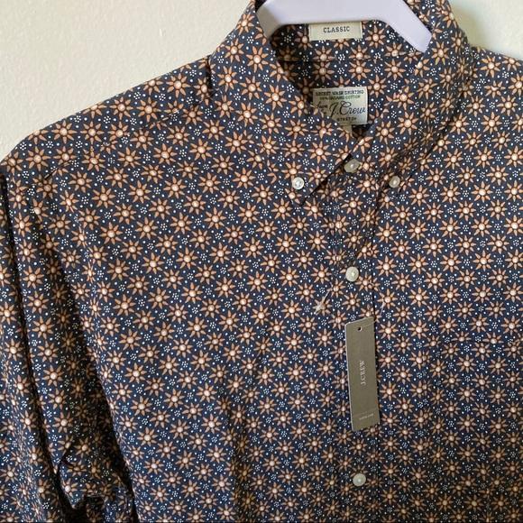 J Crew Secret Wash Cotton Poplin shirt Sun Print